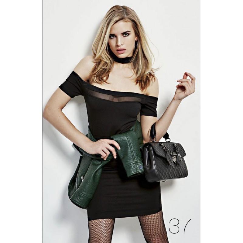 BLACK SLIM FIT SHORT DRESS with transparents- GUESS WOMEN