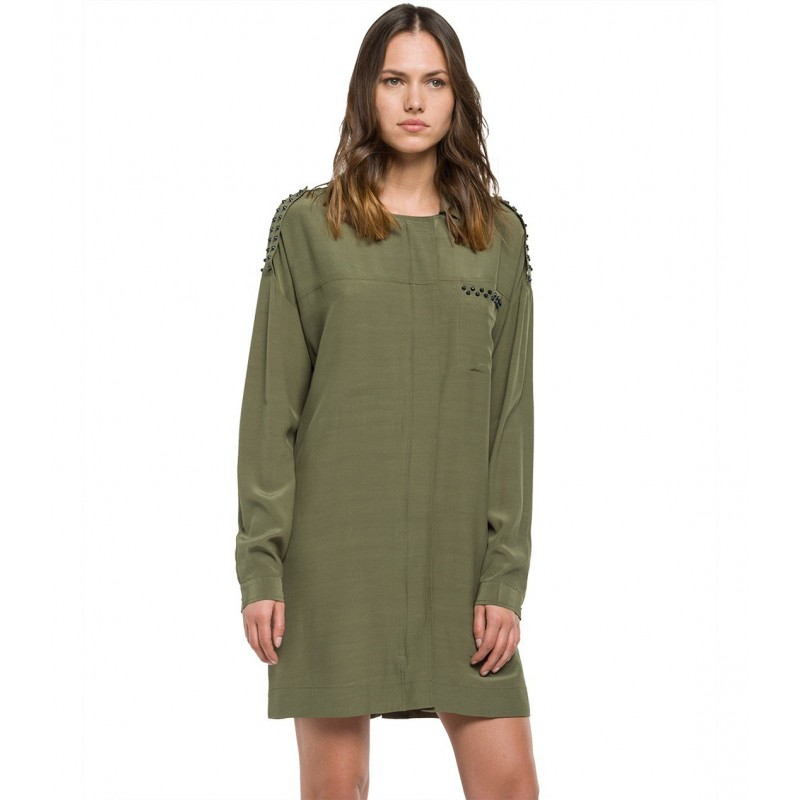 GREEN OLIVE WOMEN SHORT DRESSES - REPLAY