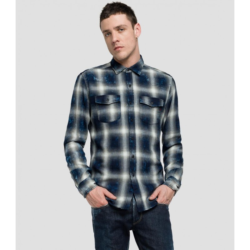 TARTAN 100% COTTON MEN SHIRTS - REPLAY- MEN