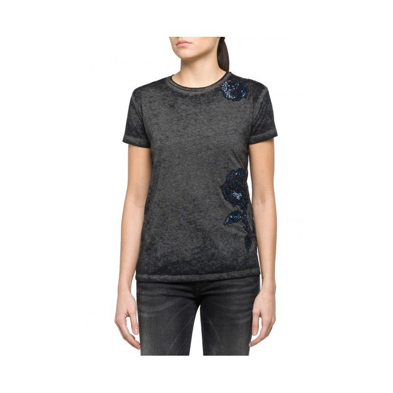 WOMEN WILD BLUE FLOWERS WITH SPANGLES - BLACK-T-SHIRT-SHORT SLEEVES REPLAY