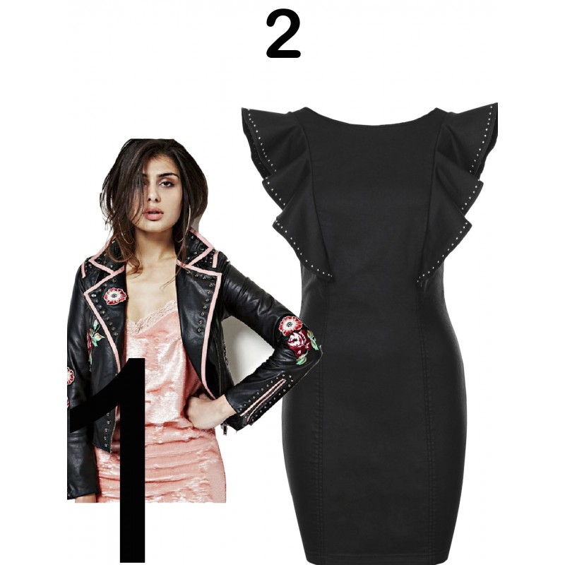 Guess- Replay- Woman guess eco leather jacket, Black Guess dress
