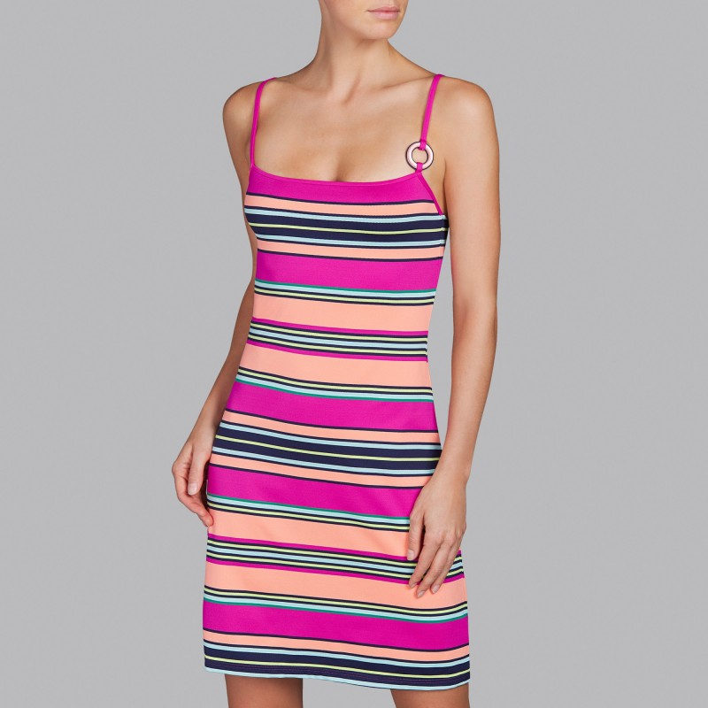 Striped Beach Dresses , fuchsia striped dress , Andres Sarda 2018 online- Striped Pitta Fuchsia