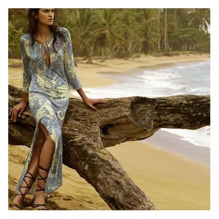 Vestidos- pareos lunares, vestidos playa  blanco y azul, Andrés Sardá 2018 online, Heron dots a lunares
