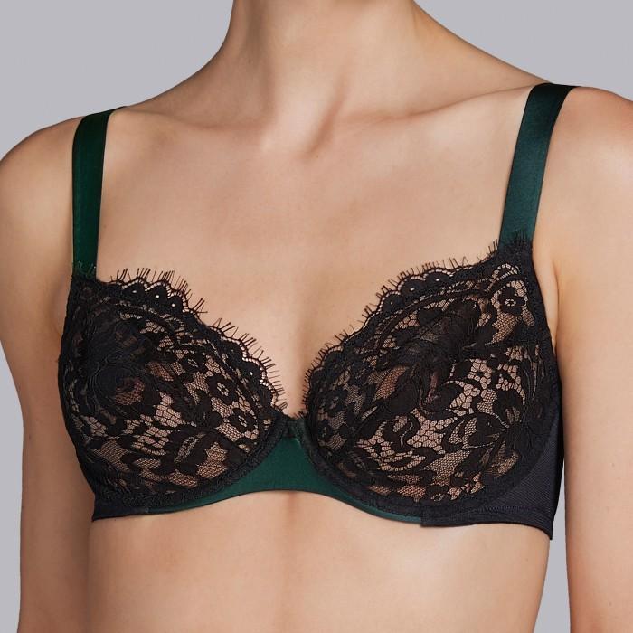 Black bras -wire full cup D, E- Andres Sarda 2018 megeve black green, black lingerie