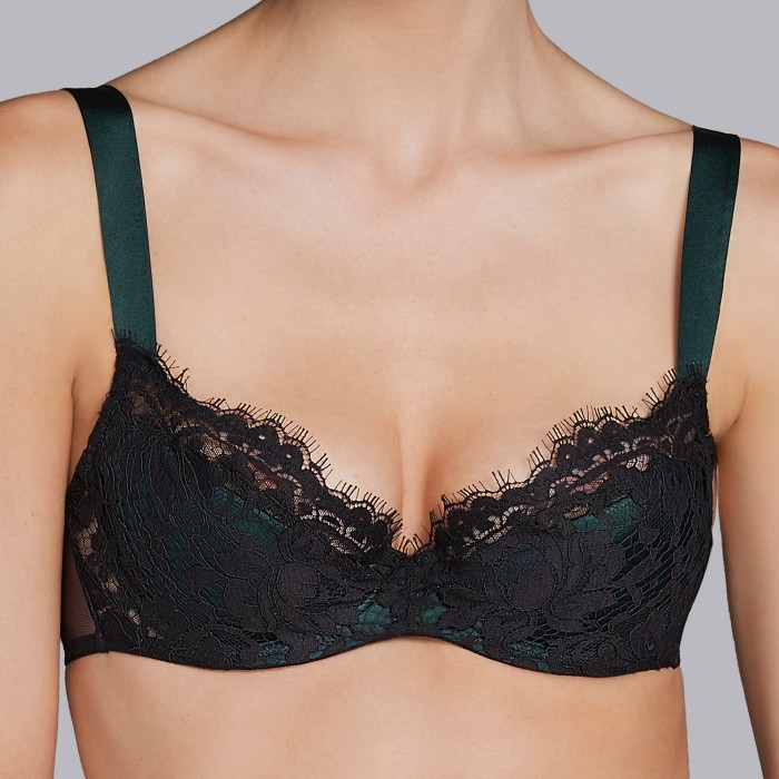 Black push up bras - Andres Sarda 2018 megeve black green, black lingerie