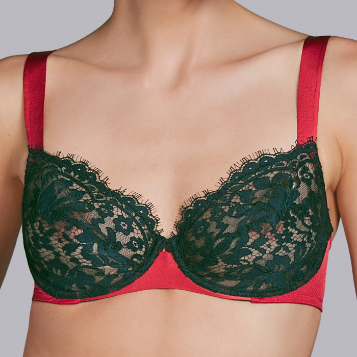 Black bras -wire full cup D, E- Andres Sarda 2018 megeve red, black lingerie