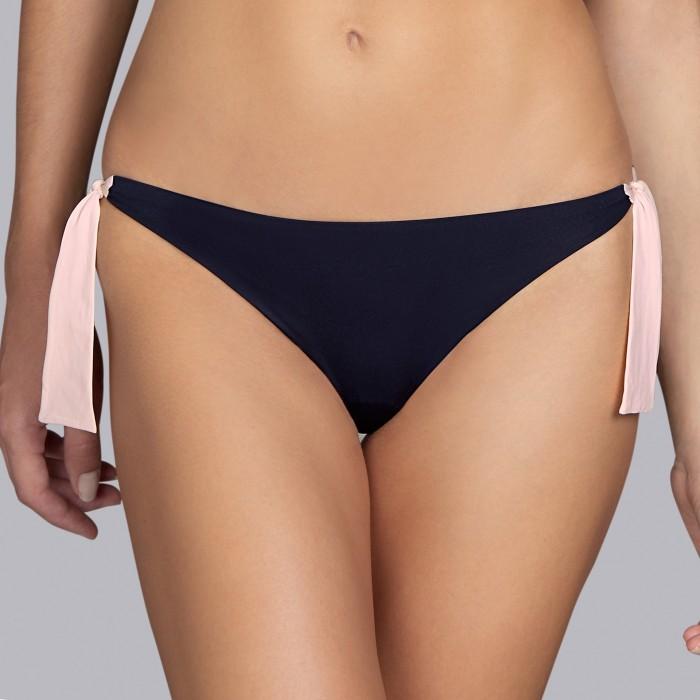 Bikinis noirs- Bikinis , slip liens réglables Andres Sarda Belle Rose pâle et noir 2019