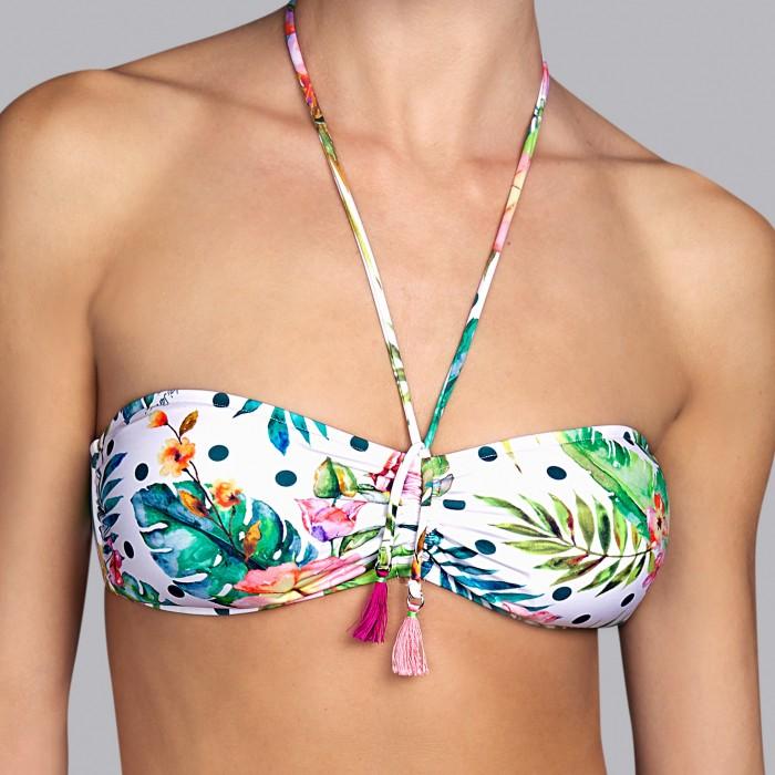 Bikinis tropical- sin tirantes con espuma Bikinis estampado tropical Shelter tropical dots, Andres Sarda , Verano 2019, décollet
