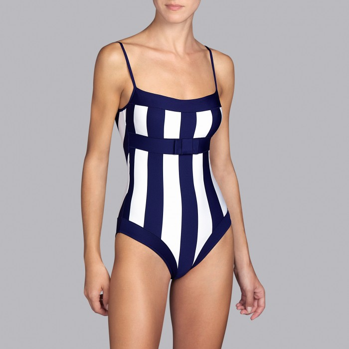 Padded Striped Blue Swimsuits, t-shirt necklinea cups B, C, D- Andres Sarda Azura 2019 Swimsuits