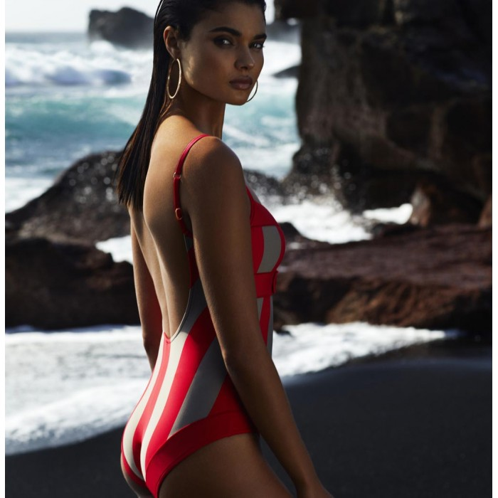 Padded Striped Red Swimsuits, t-shirt necklinea cups B, C, D- Andres Sarda Azura Fun red 2019 Swimsuits