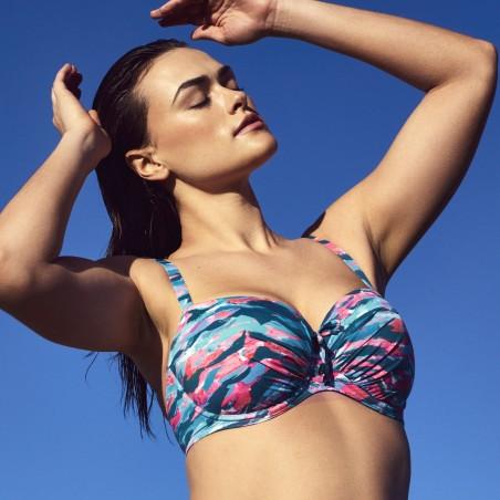 Bikinis azules con espuma reductores, balconet, Primadonna, New Wave 2019, tallas grandes, portada