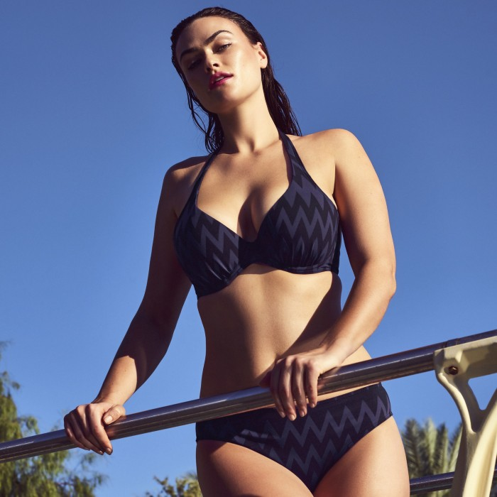 Striped Bikinis, padded triangle,  violet and black, Primadonna Venice, Large sizes, Summer 2019