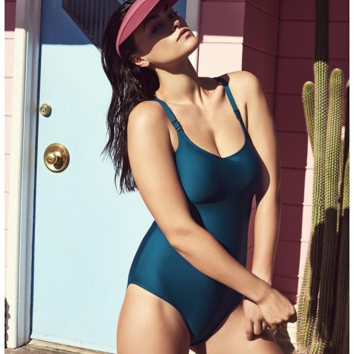 Padded blue swimsuits, Big sizes triangle neckline, indigo blue- Cocktail Booboo- Primadonna