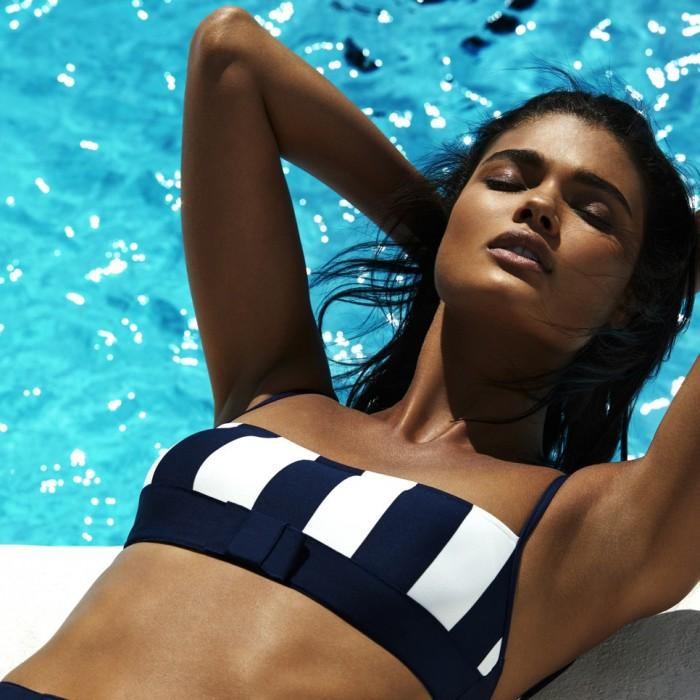 Bikinis a rayas azules, espuma y sin aro con escote recto y tirantes- Andres Sarda Azura 2019 Bikinis, padded