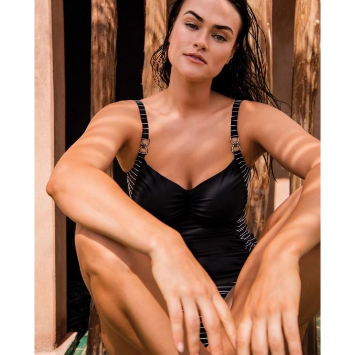 Tankini Negro a rayas tallas grandes, tankini  , Primadonna Sherry negro 2020, hasta talla 110G