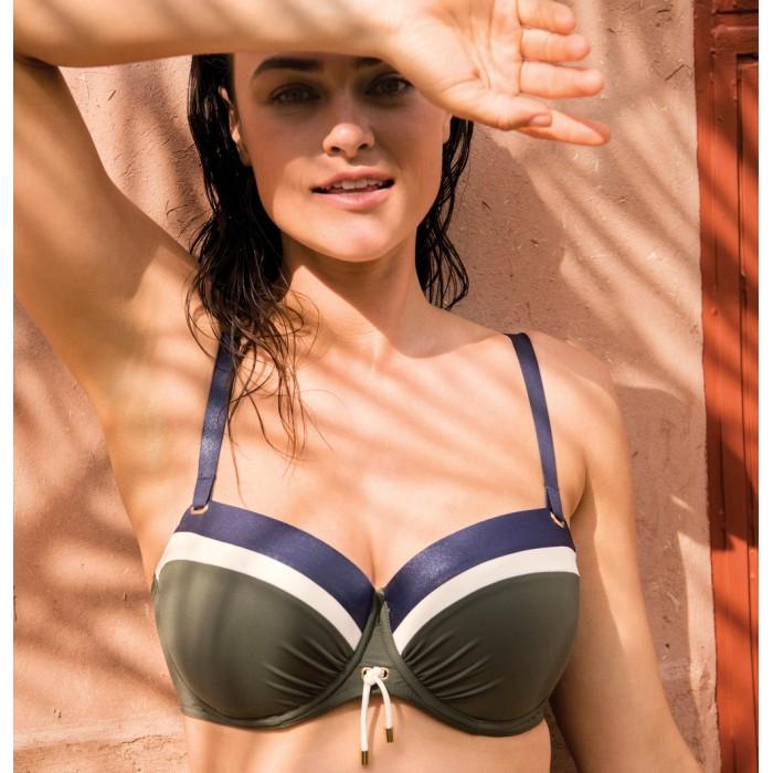 Padded military green bikini, padded balconny Primadonna Ocean drive green big size 2020, cup E, F, G, H