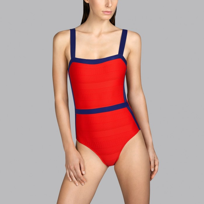 Padded Red fiery swimsuit Andres Sarda t-shirt neckline - Red fiery scarlet Mod padded swimsuit 2020