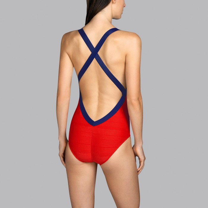 Red fiery swimsuit with back neckline Andres Sarda - Low-cut swimsuit Mod red fiery scarlet 2020