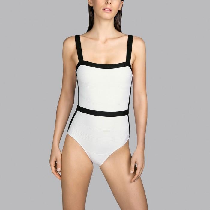 Padded White swimsuit Andres Sarda t-shirt neckline - White Mod padded swimsuit 2020