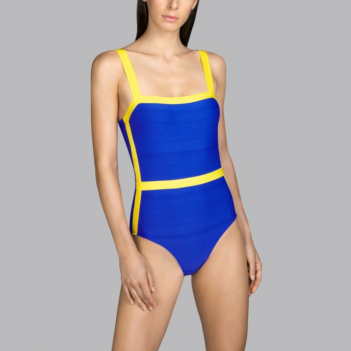 Padded Blue and yellow swimsuit Andres Sarda t-shirt neckline - Blue and yellow Mod padded swimsuit 2020