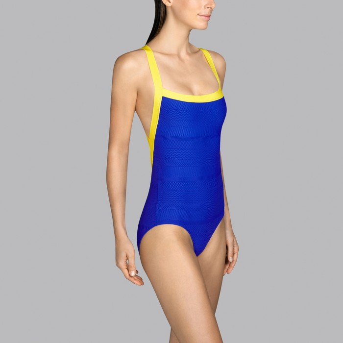 Blue and yellow swimsuit with back neckline Andres Sarda - Low-cut swimsuit Mod blue and yellow 2020
