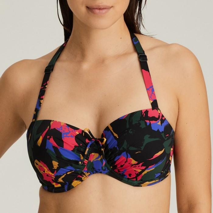 Padded flower printed balconny Bikini top Big Size, padded balconny, Primadonna flower Oasis Black Cactus Big Size 2020, to H