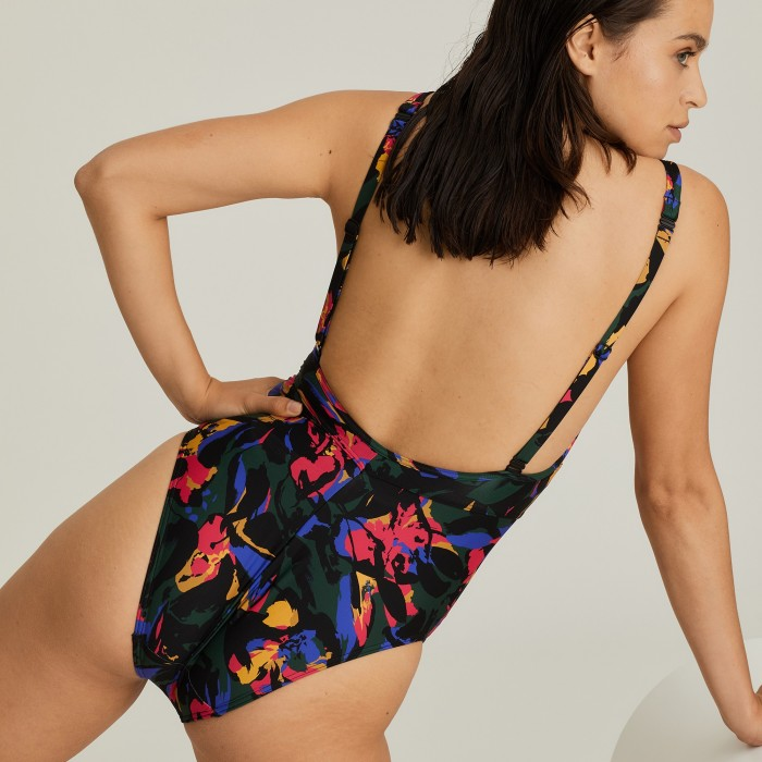 One piece flower printed swimsuit Big Size, Primadonna flower Oasis Black Cactus Big Size 2020, to 110F