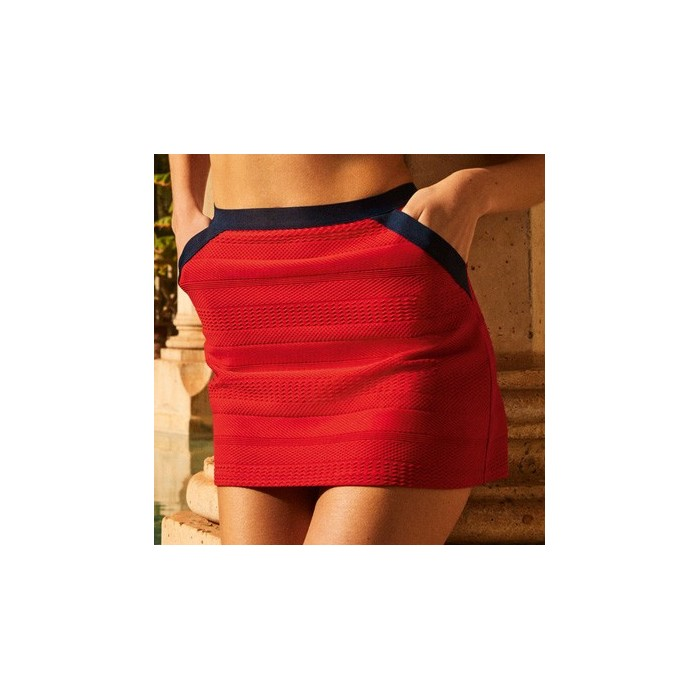 Red fiery pareo skirt Andres Sarda- Red fiery scarlet Mod Pareo skirt 2020