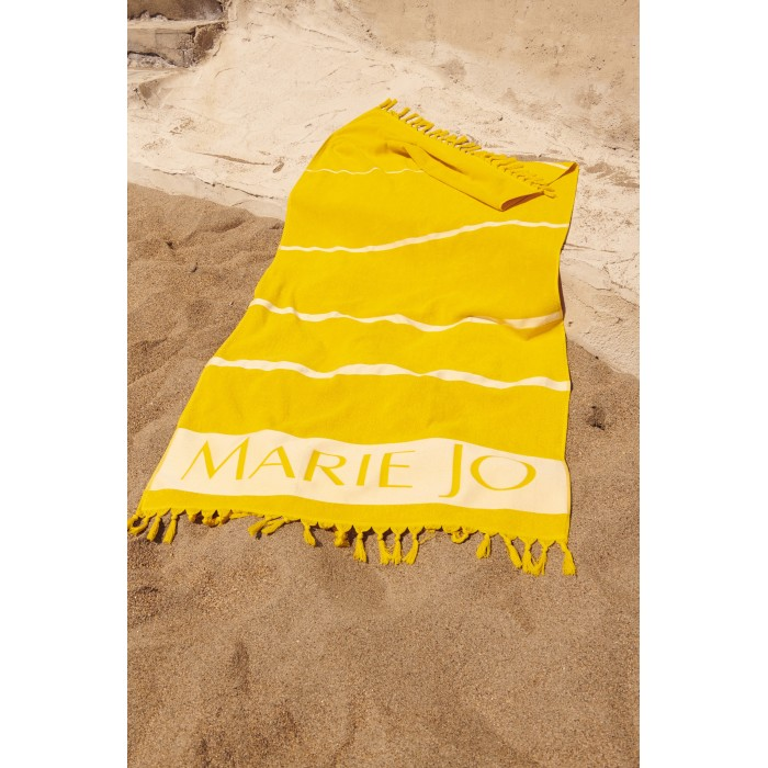 Beach Towel Guess. Yellow and white striped. Yellow sailor in sight!