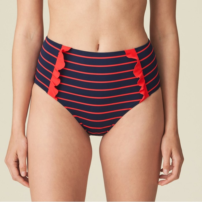 Bikini culotte haut violet rayé rouges Celine - Bikini culotte haut Celine Pomme d'amour à rayures, volants 2020