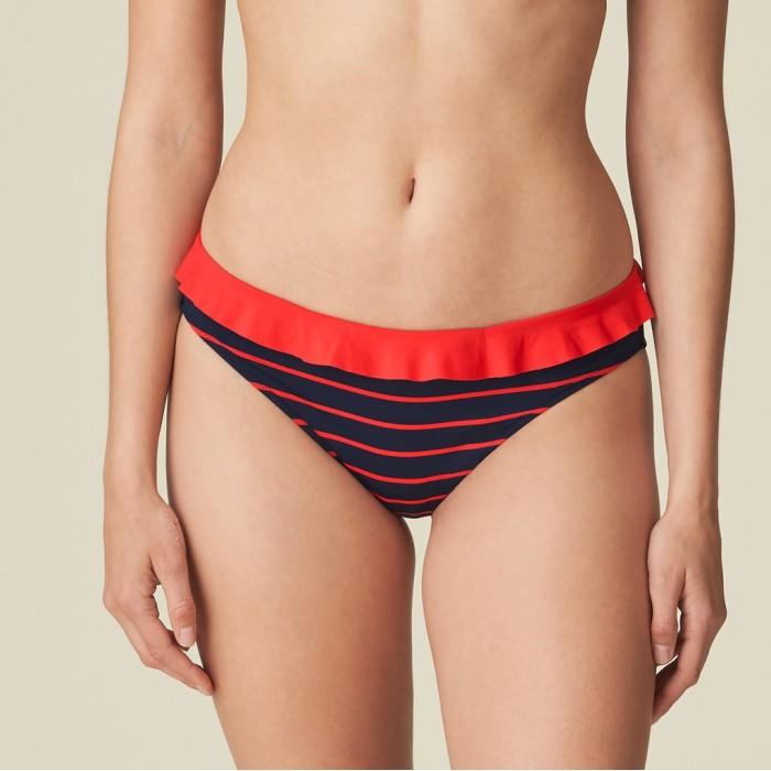 Bikini braga bikini , volantes, morado a rayas rojas Celine- Bikinis braga bikini Pomme d'amour a rayas y volantes Celine 2020