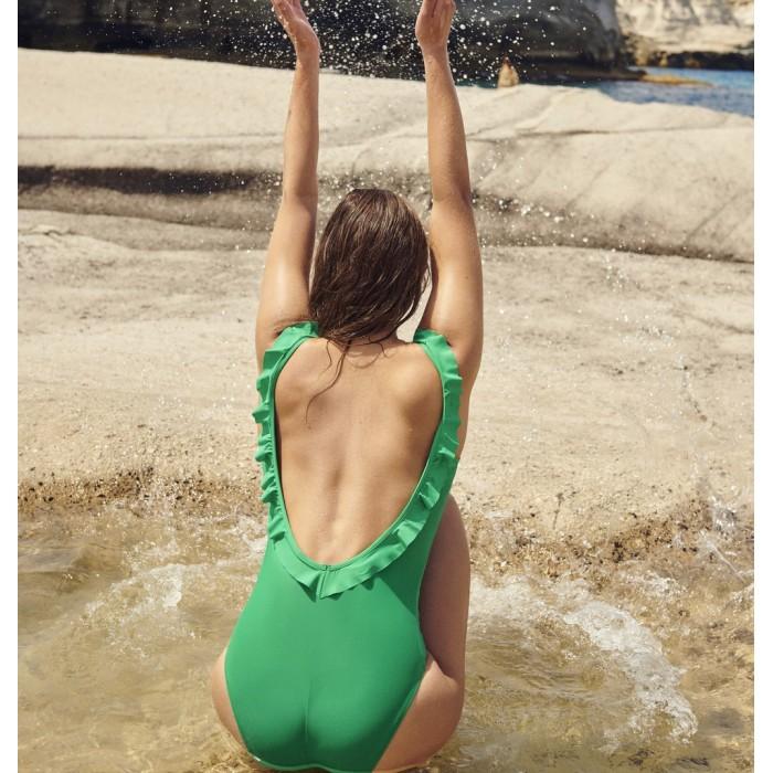 Bañador verde volantes - Bañador Aurelie Verde Menta 2020