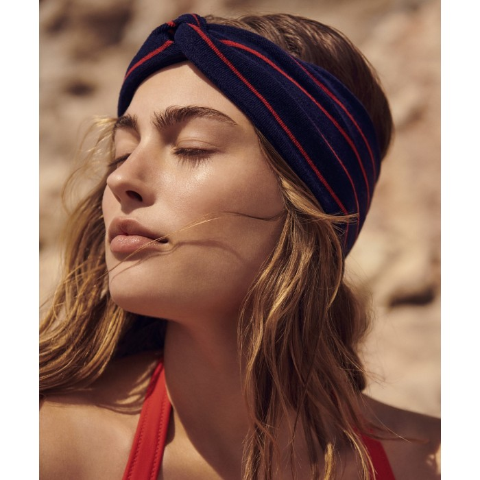 Banda para cabello, morado a rayas rojas Celine- Banda para cabello Pomme d'amour a rayas y volantes Celine 2020