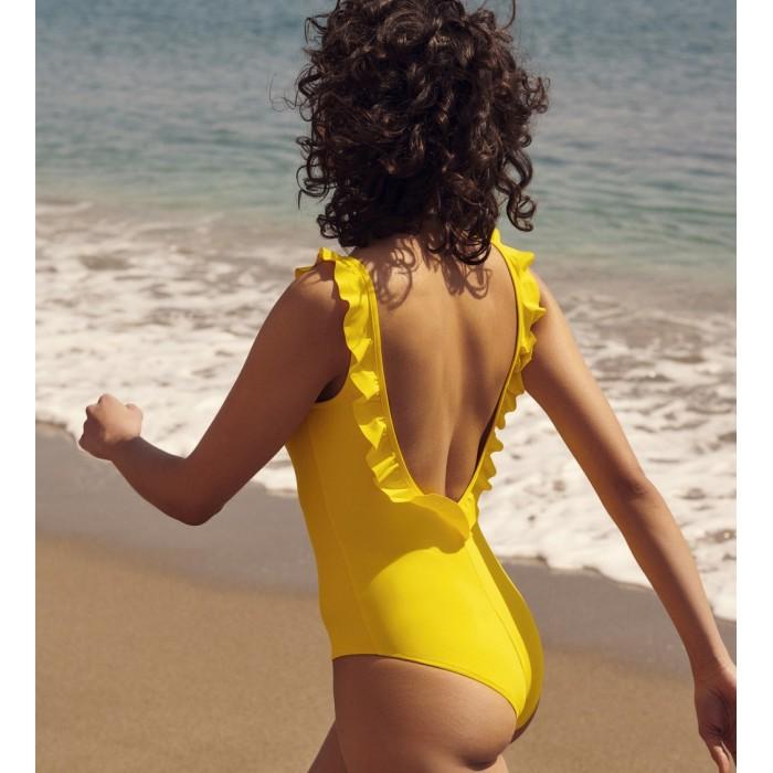 Maillot de bain, jaune, volant- Maillot de bain Aurelia bain jaune Soleil 2020
