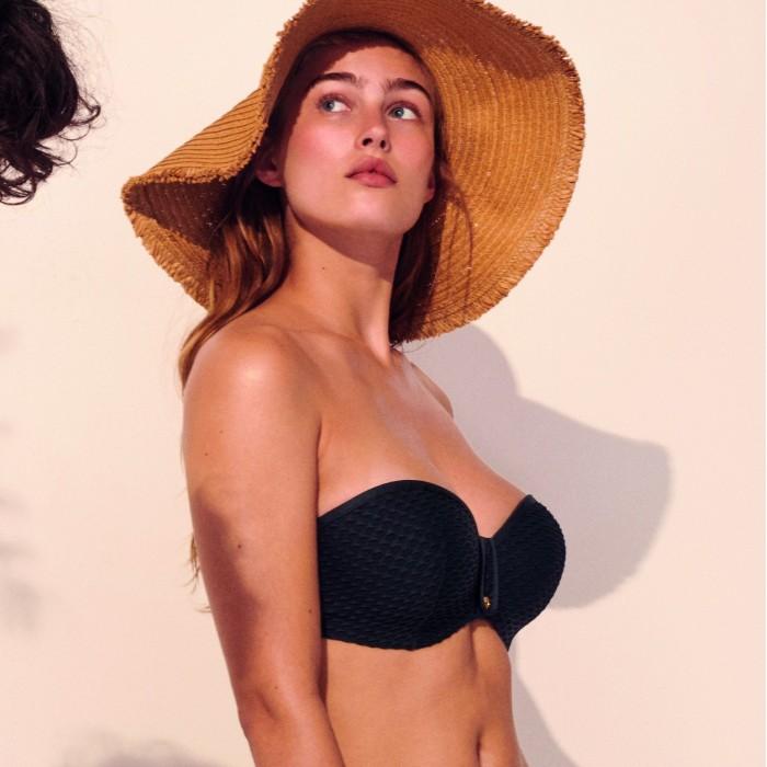 Bikini bandeau negro con relleno realzado colmena - Bikini triángulo Brigitte Negro 2020