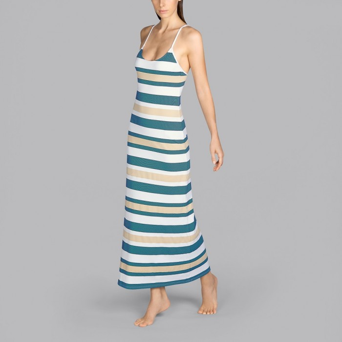 Long beach dress- white pareo with blue and beige stripes Andres Sarda- Pareo Pop sky 2020 dress
