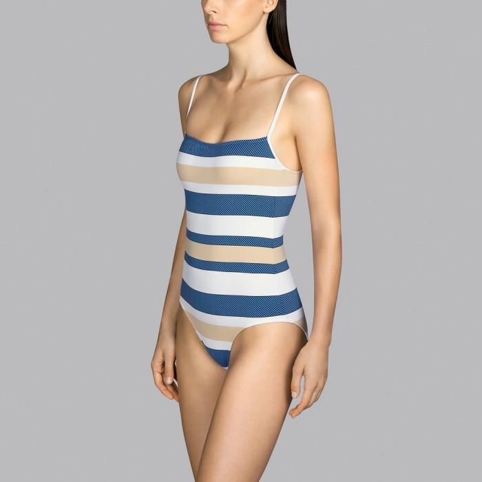 Maillot de bain blanc rayé bleu et beige rembourré Andres Sarda T-shirt - Maillot de bain rembourré Pop sky 2020