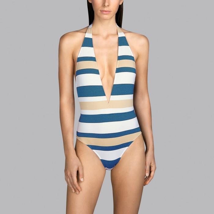 Maillot de bain blanc rayé bleu et beige décolleté arrière et avant Andres Sarda - Pop sky 2020 maillot de bain décolleté