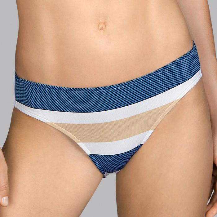 White striped bikini bottom with blue and beige Andres Sarda - Bikini Pop sky 2020