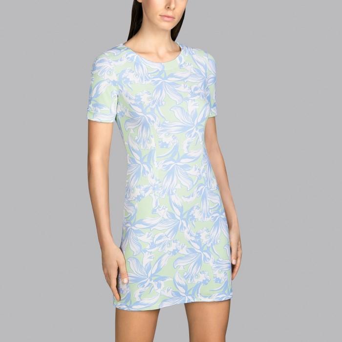 Flower summer dress blue and mint Andres Sarda - Summer dress Power Pacific Flower 2020