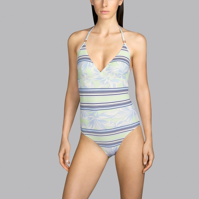 Flower Swimsuit, blue and mint  Andres Sarda - Power Pacific Flower 2020  Llow Cut Swimsuit