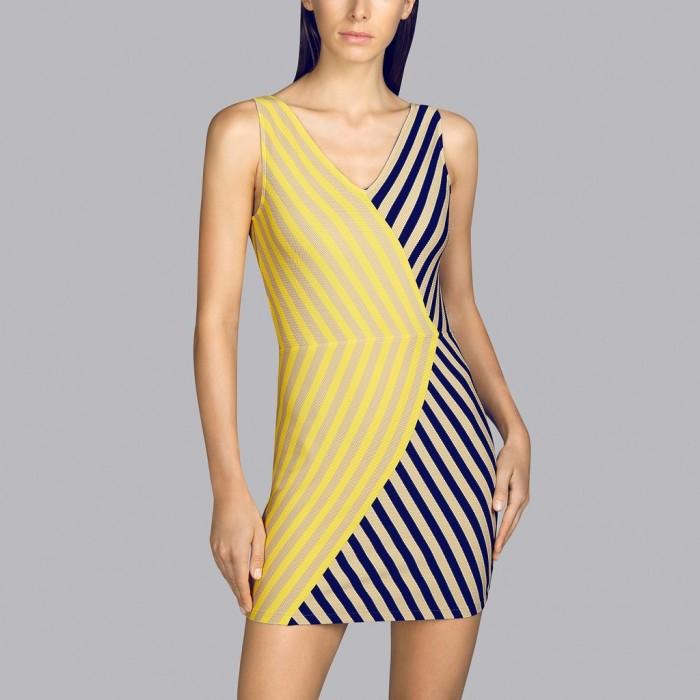Beach dress- yellow striped pareo Andres Sarda- Yellow, toffe and navy blue Pareo Naif dress 2020