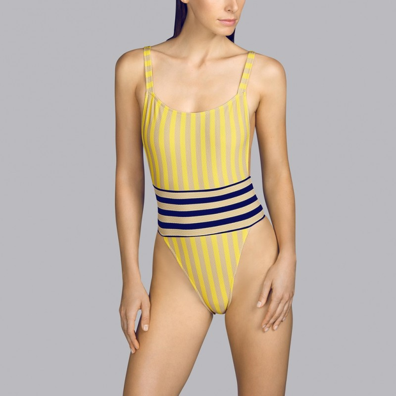 Yellow swimsuit low back neckline Andres Sarda - striped Yellow, toffe and navy blue Naif 2020 low cut swimsuit