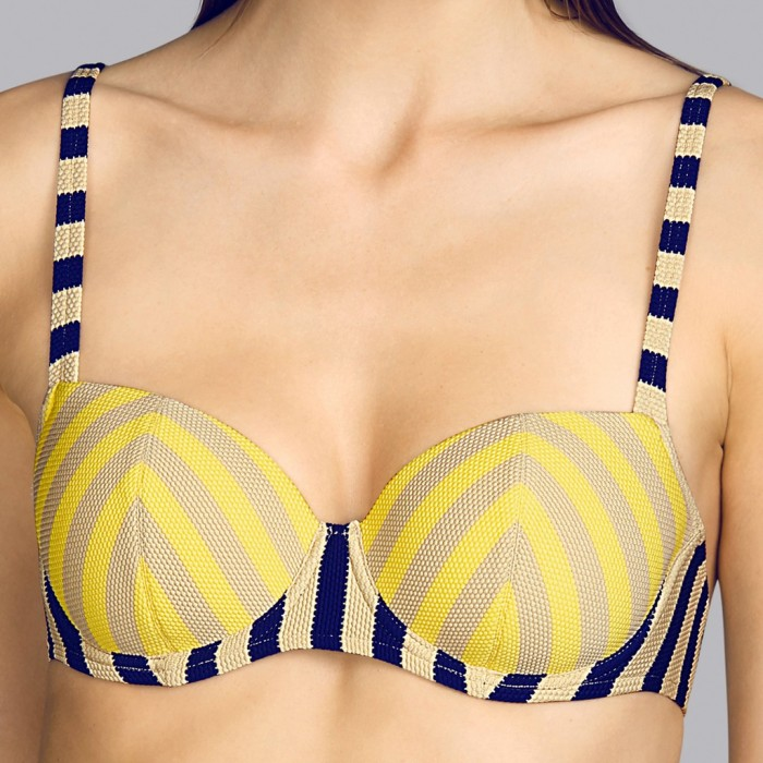 Padded Balconet Yellow bikini Andres Sarda, striped - Balconet padded bikini Yellow, toffe and navy blue Naif 2020