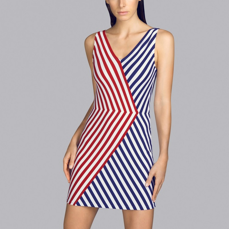 Beach dress- red striped pareo Andres Sarda- Red, blue and white Pareo Naif dress 2020