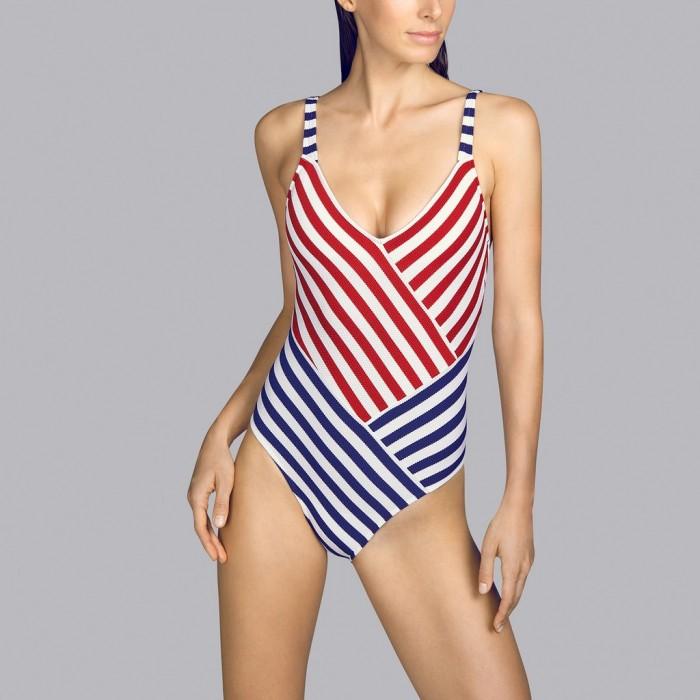 Maillot de bain rayé rouge triangle rembourré Andres Sarda - Maillot de bain rembourré Naif rouge, bleu et blanc 2020