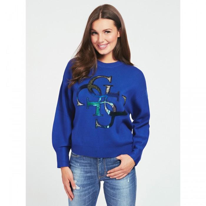 Guess blues electric Shirt, glossy logo - SUMMER sweatshirt, blue surfer puffed sleeves GUESS 2021