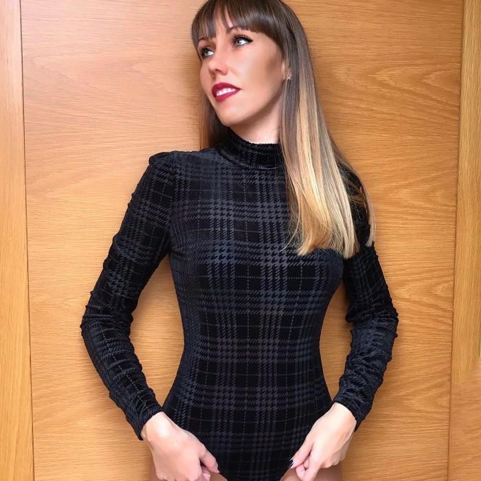 Long sleeve body, semitransparent, turtleneck body printed Guess-HINDA body,black check combo body GUESS
