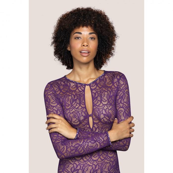 Body lingerie- body dentelle, manches longues- Andres Sarda lingerie, Lynx Purple Impact, lingerie dentelle