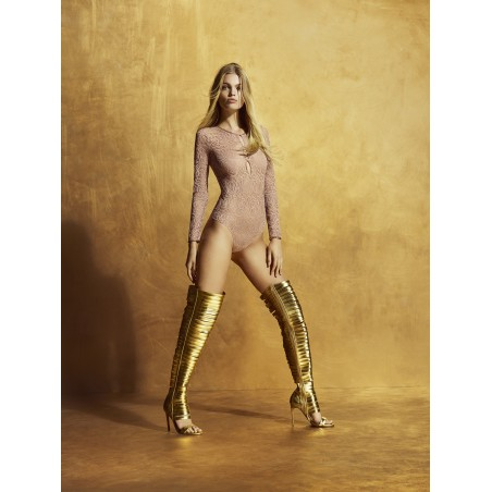 Lace bodysuit- long sleeve bodysuit- Andres Sarda lingerie, Lynx Bois Rose, lace underwear